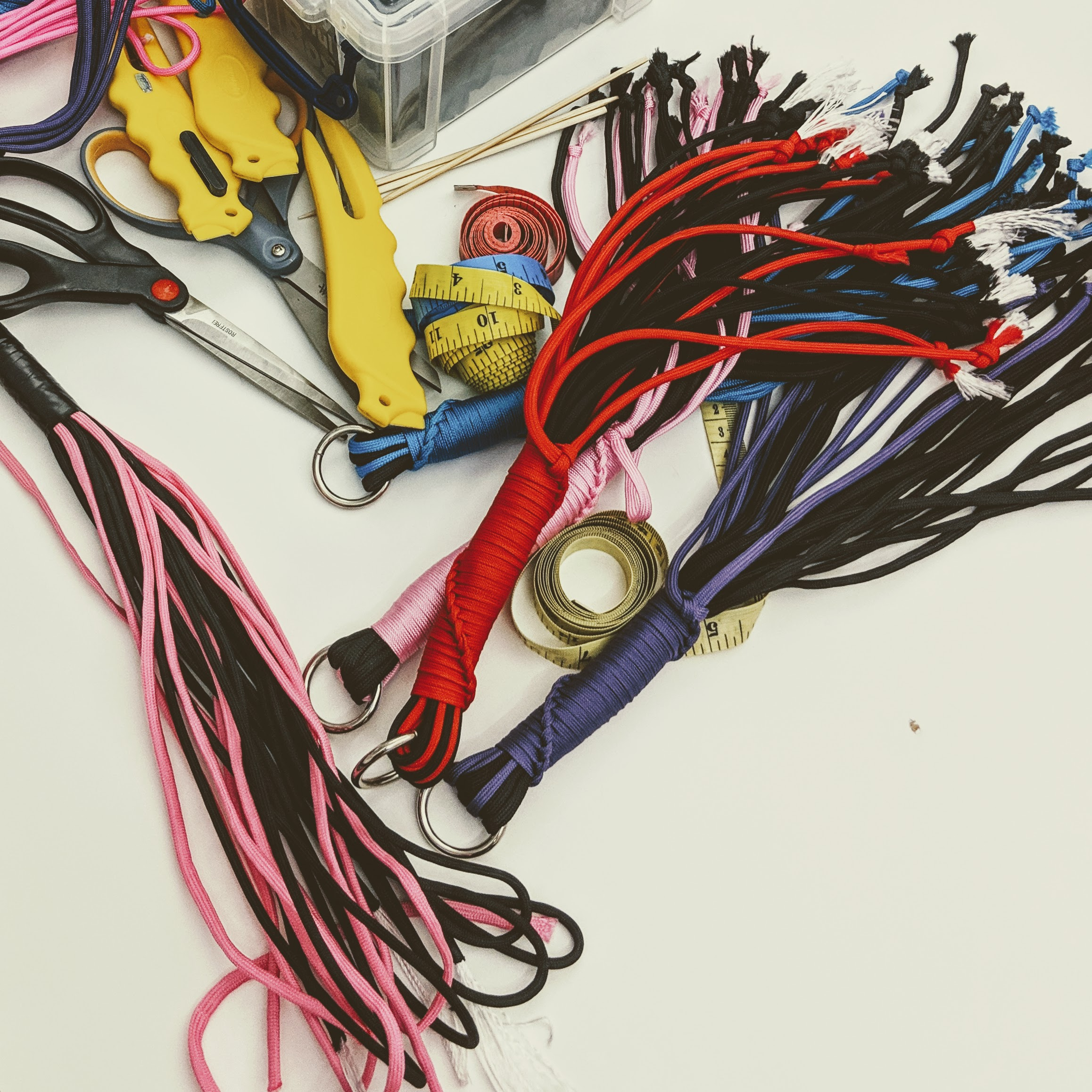Mini-floggers and other bits on the crafting table at Eroticon